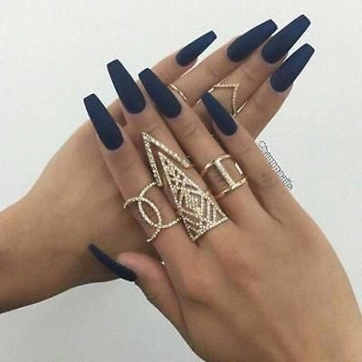 Long Matte Black Coffin Nails Fake Nails Press On Nails Stick On Nails In Health And Beauty Nail Care Manicure And Navy Blue Nails Blue Nails Fake Nails