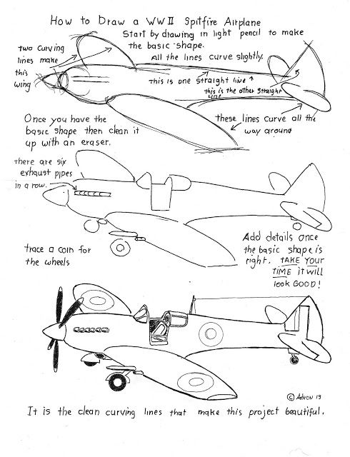 how to draw an airplane cartoon