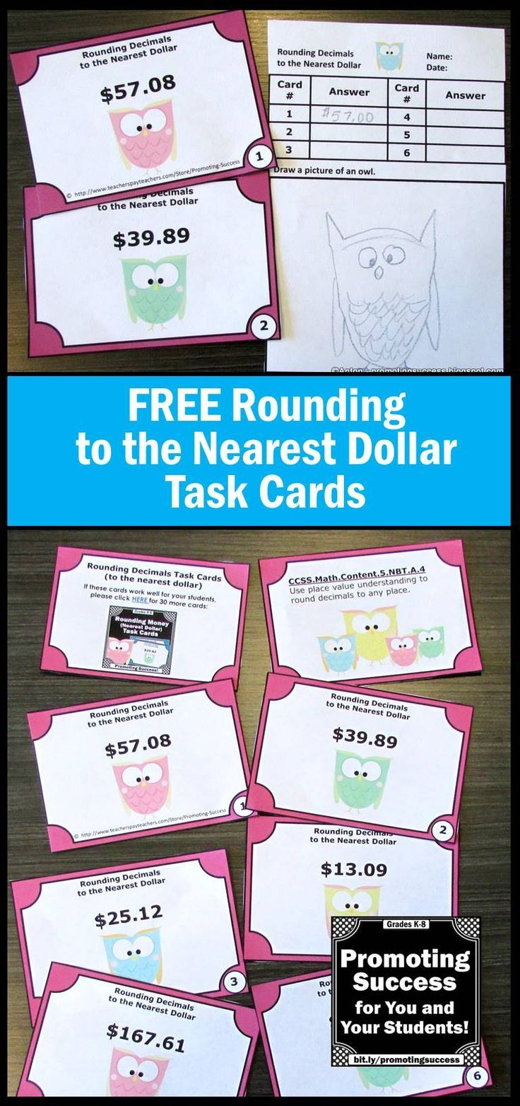 FREE Download Rounding to the Nearest Dollar Task Cards 5th Grade ...