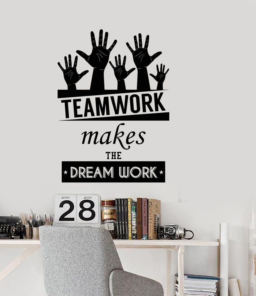 Cool vinyl decal wall sticker office quote teamwork makes the dreamwork decor z3955