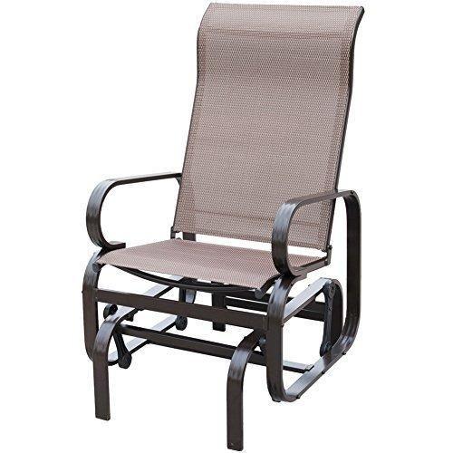 PatioPost Outdoor Textilene Mesh Fabric Patio Sling Glider Chair   Mocha