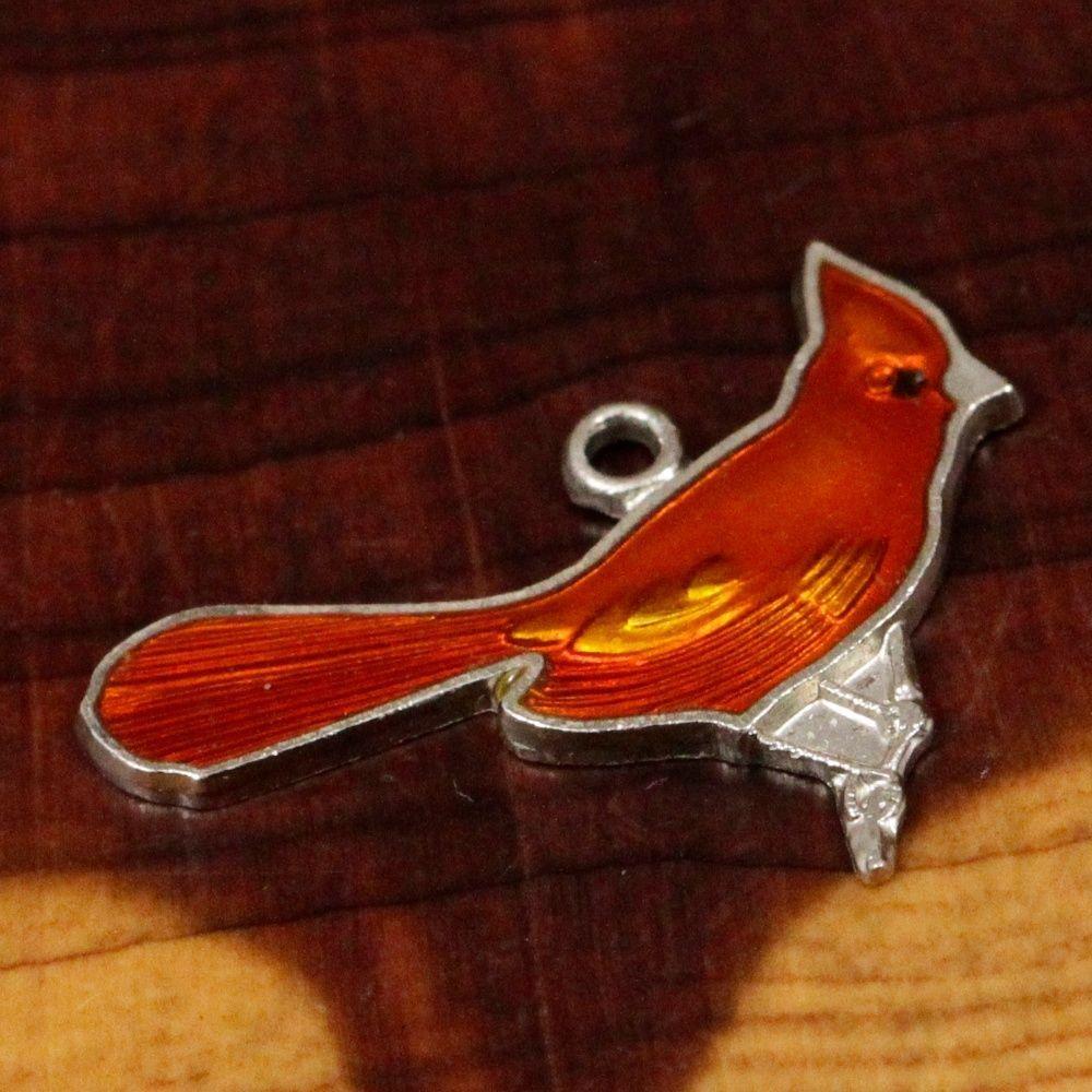 Sterling Silver Wells Enamel Cardinal Charm