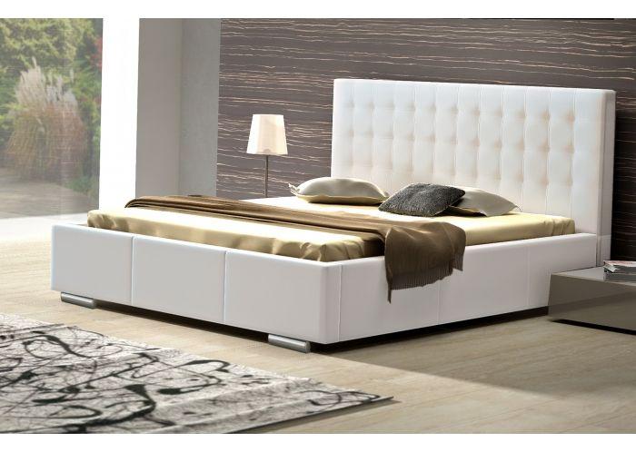 lit capitonne simili cuir celita 160x200 cm blanc