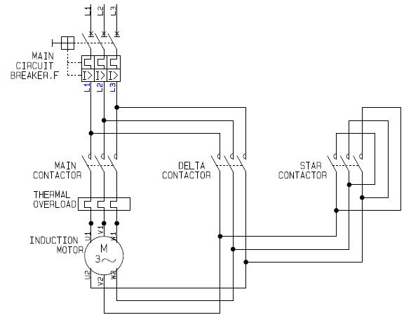 using stardelta motor control with circuit diagrams