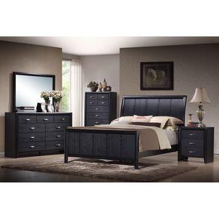 Black Contemporary Bedroom Set Magnificent Kima Black Queen 5Piece Wooden Modern Bedroom Set  Overstock 2018