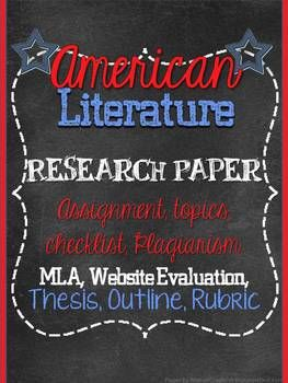 American Literature Research Paper Everything You Need Teaching High School English Teacher Resources Topics Topic