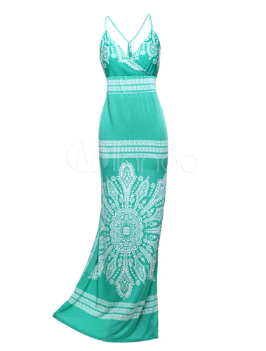 Stylish Green Straps Neck Sleeveless Womens Maxi Dress - Get 10% Off on All Full Price Orders $100