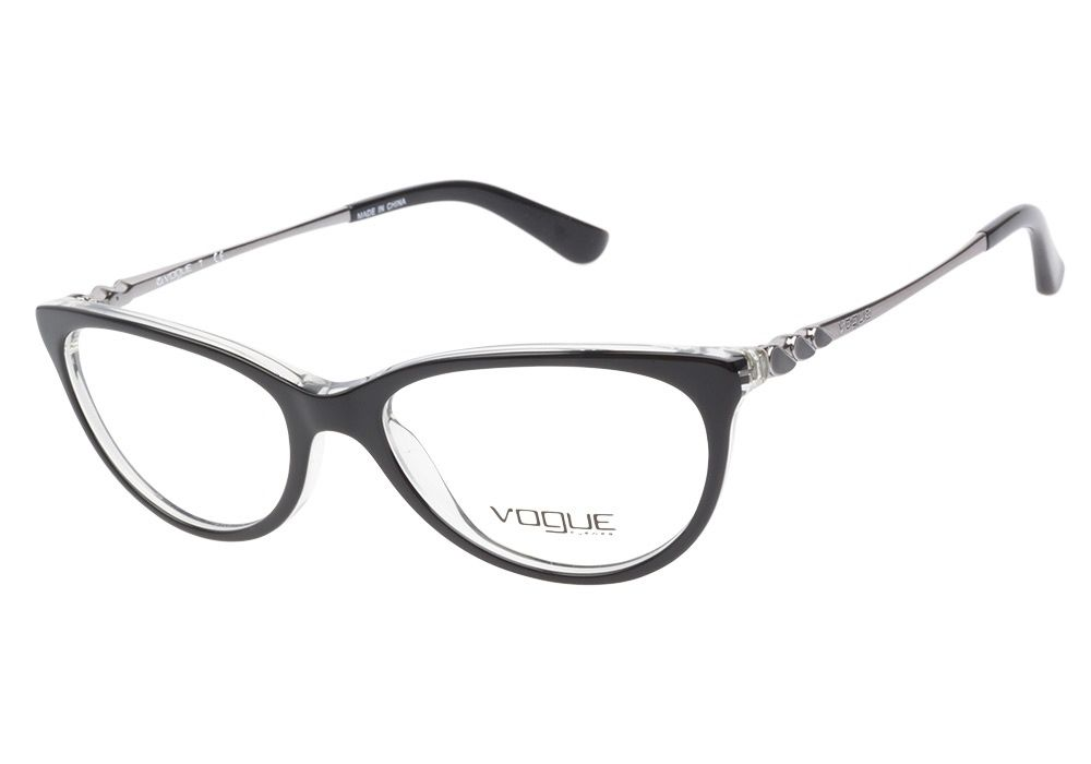 vogue black on transparent eyeglasses are bewitchingly stylish this charming cateye style has a dual toned acetate frame front featuring a glossy black