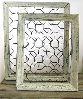 How to make shabby chic chicken wire frames. Could use those tiny ...