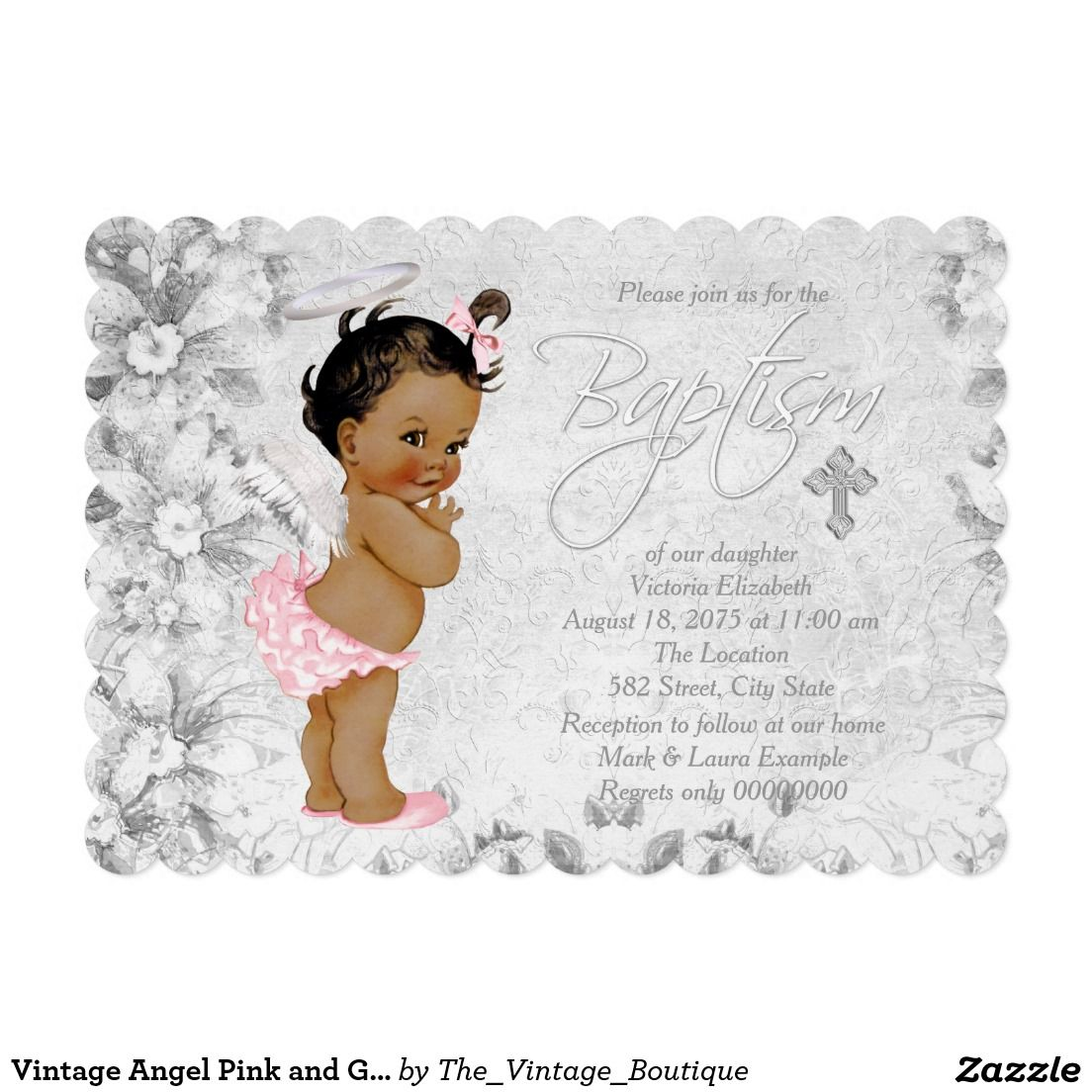 Vintage Angel Pink And Gray Baptism Invitation Religious