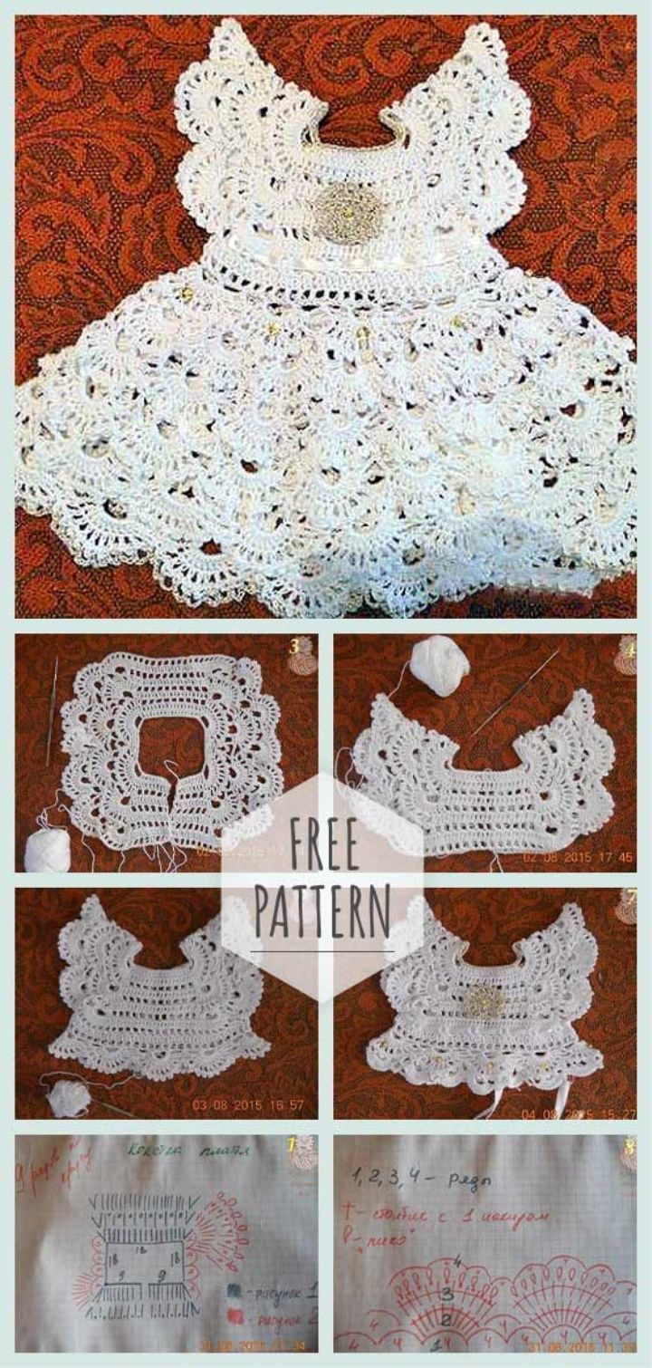 Crochet Baby Dress Gentle Angel #vestidosparabebédeganchillo