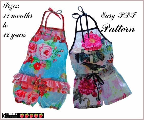 5Berries Girls ROMPER PATTERN + Free Mother-Daughter Apron pattern ...
