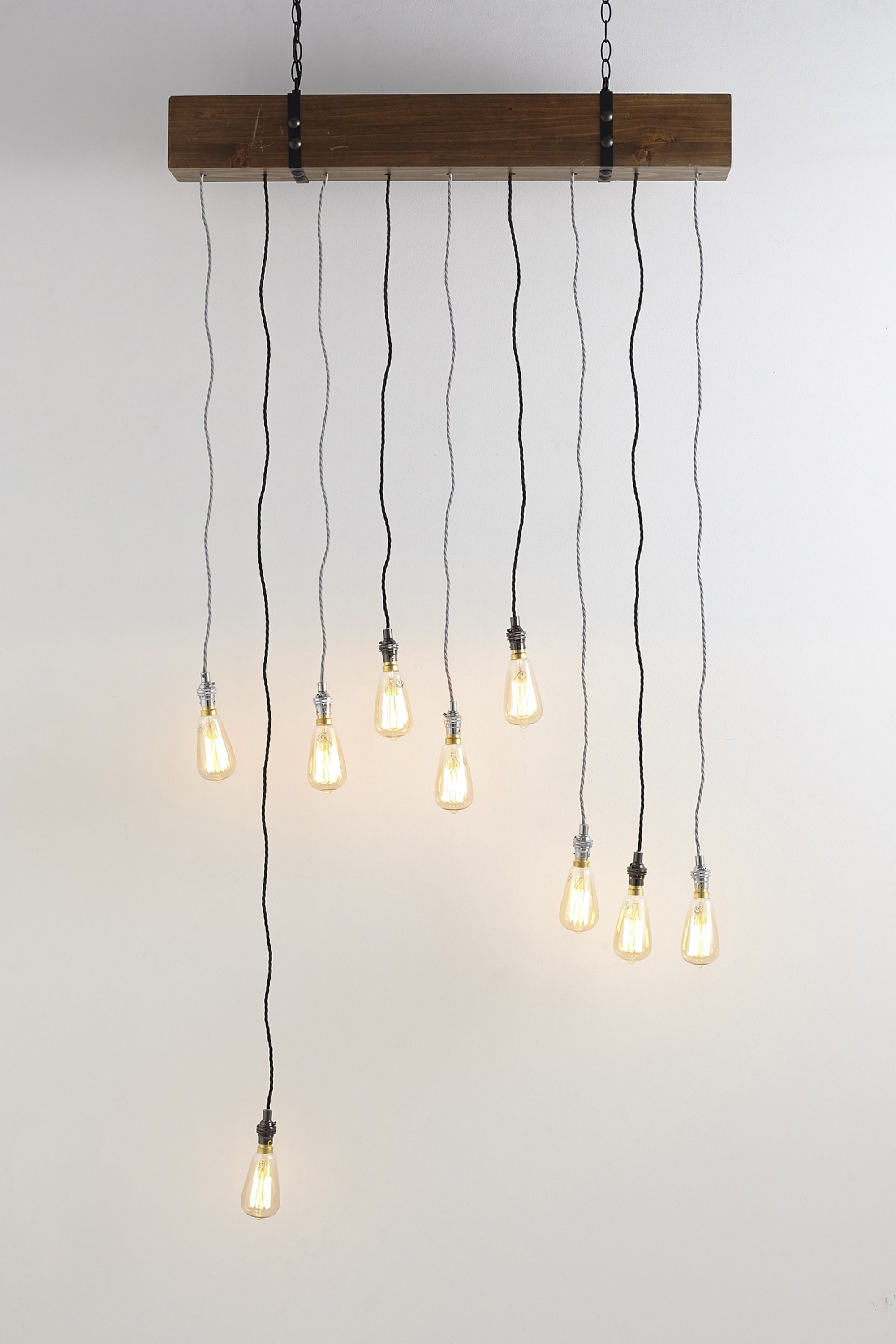 Bronx 9 Light Beam Pendant Wood Colour Bhs