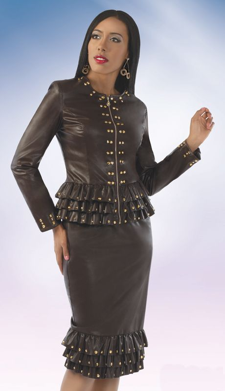 OD8207,Odeliah Denim And Leather Church Apparel Fall And Holiday Suits 2014