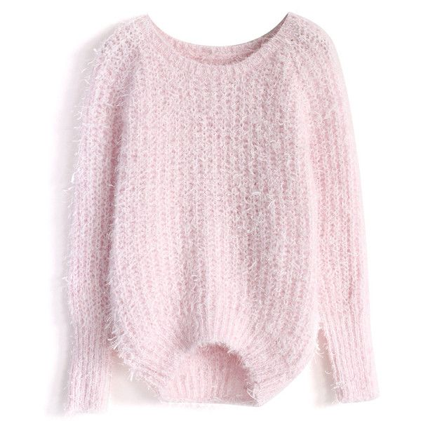 Chicwish Basic Fluffy Sweater in Pink (975 MXN) ❤ liked on Polyvore featuring tops, sweaters, shirts, pink, knit top, boatneck sweater, sweater pullover, shirt sweater and boat neck tops
