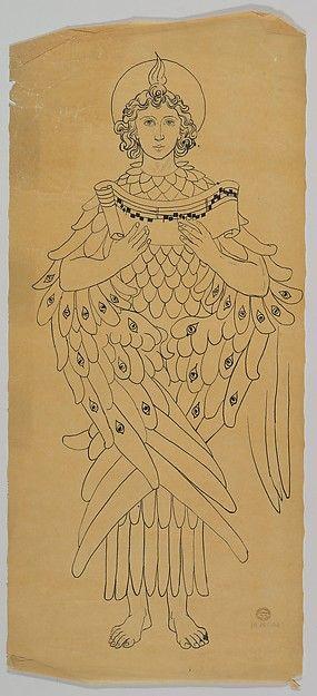 Tracing of an archangel   Ernest Geldart (British,1848–1929)