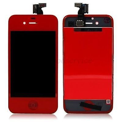 Red Glass LCD Touch Screen Digitizer Lens Replacement Assembly for iPhone 4