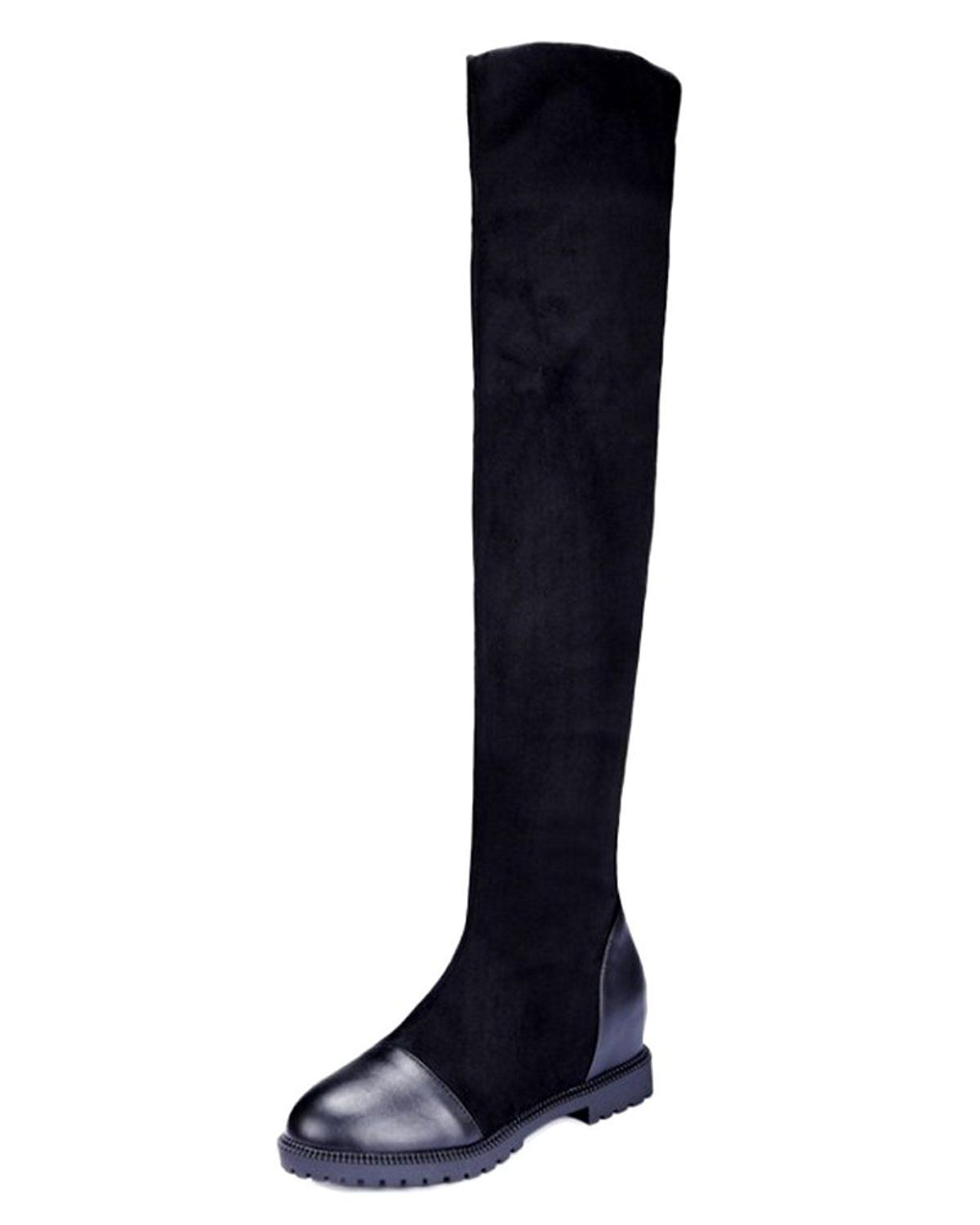 6d9c4e3972f Maybest Women Autumn Winter Elastic Thigh High Boots Fashion Over The Knee  Party Stretch Block Flat Heel Boot Black 10 B M US     Read more at the  image ...