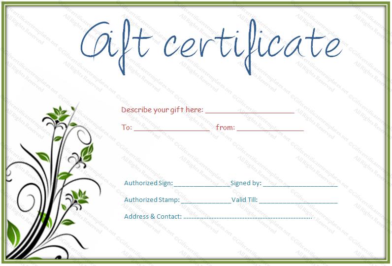 Gift Card Templates Free Printable Gift Certificate Template Gift Certificate Templates .