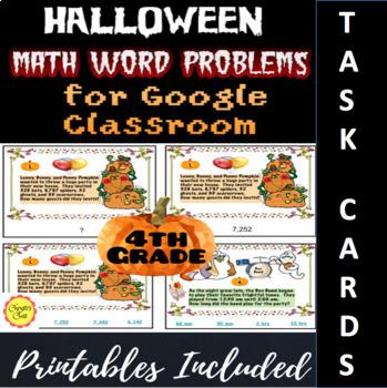 Digital Halloween Math Word Problems for the Google