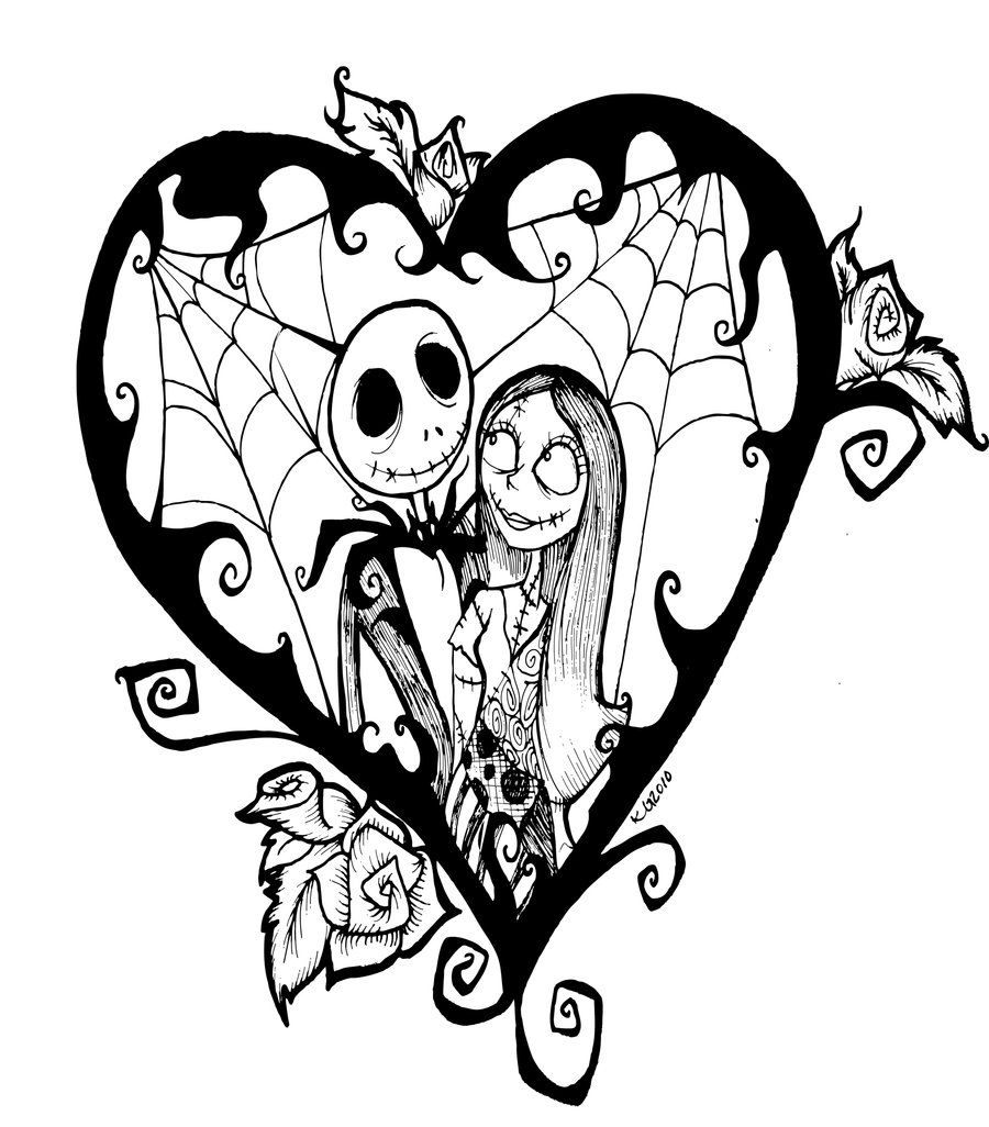 Jack Skellington And Sally Black White Drawing 1000 Images About