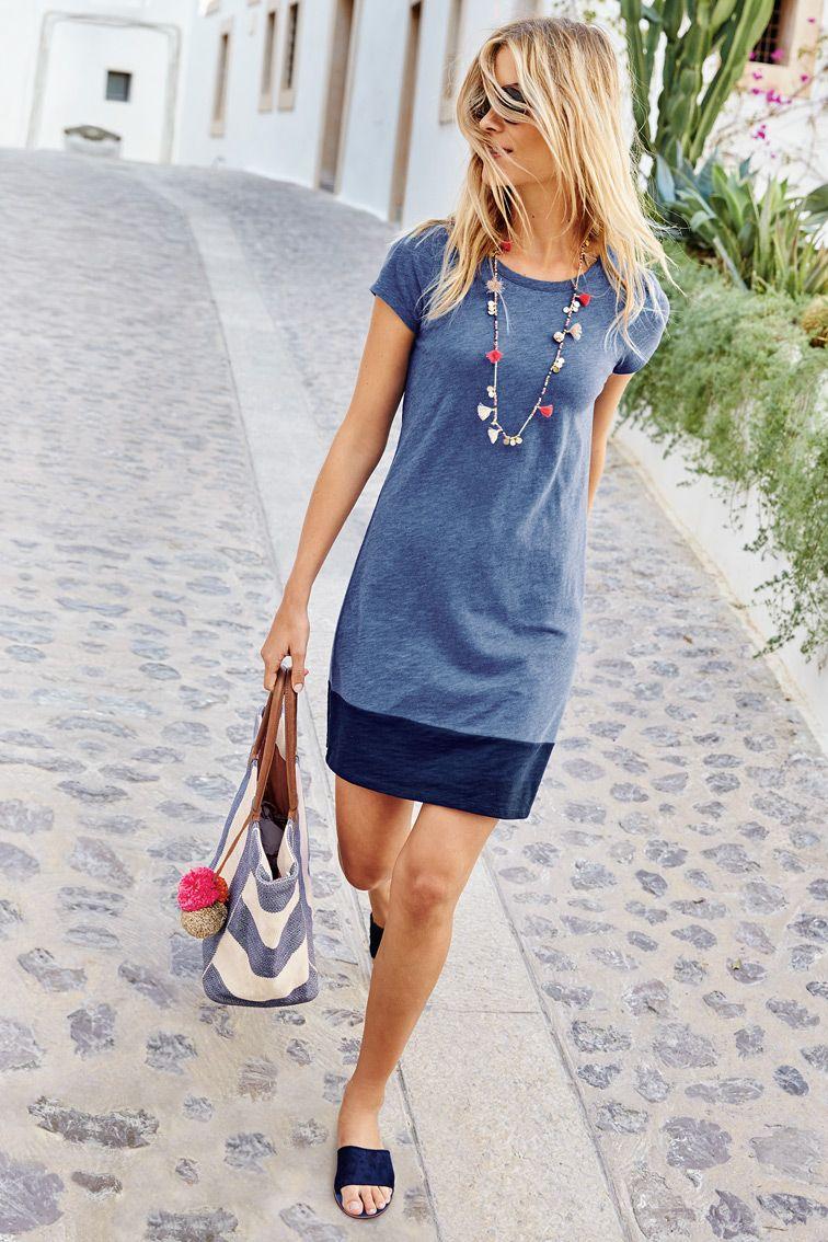 Slub T Shirt Dress Fashion Clothes Summer Work Dresses [ 1134 x 756 Pixel ]