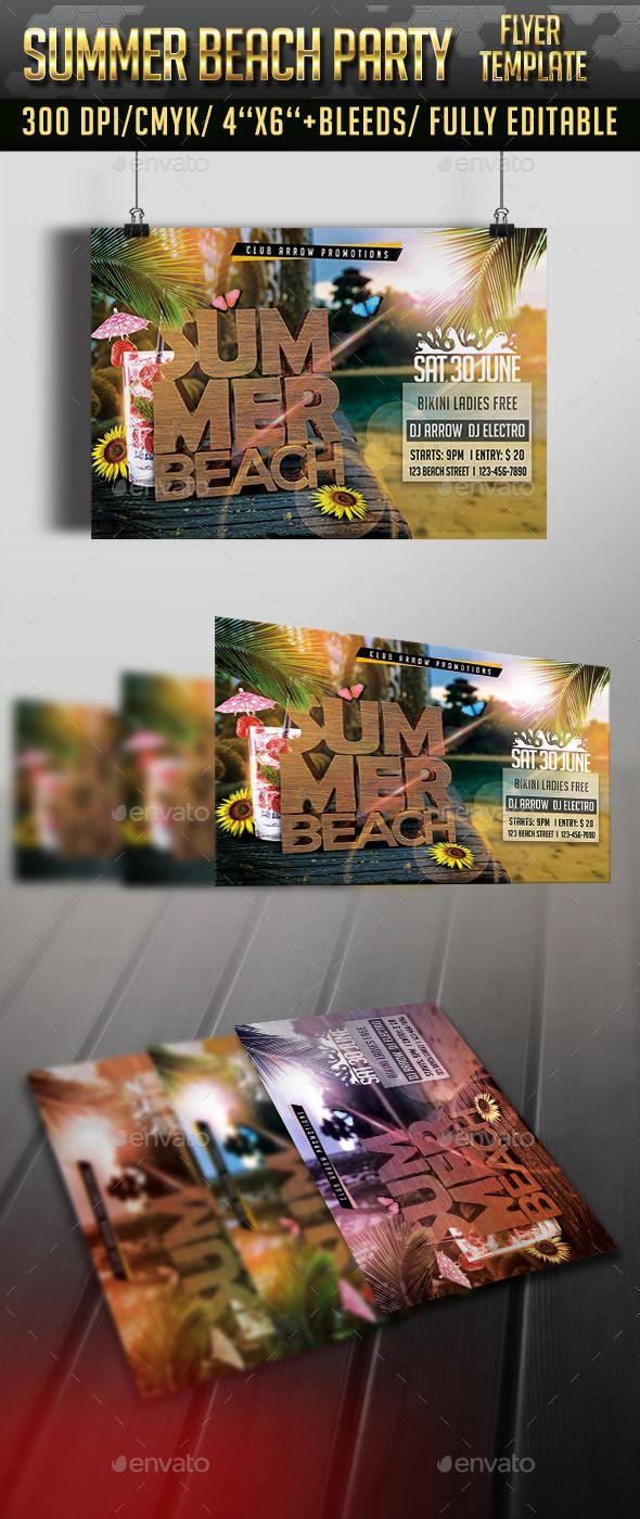 Summer Beach Party Flyer Template Pinterest Summer Beach Party