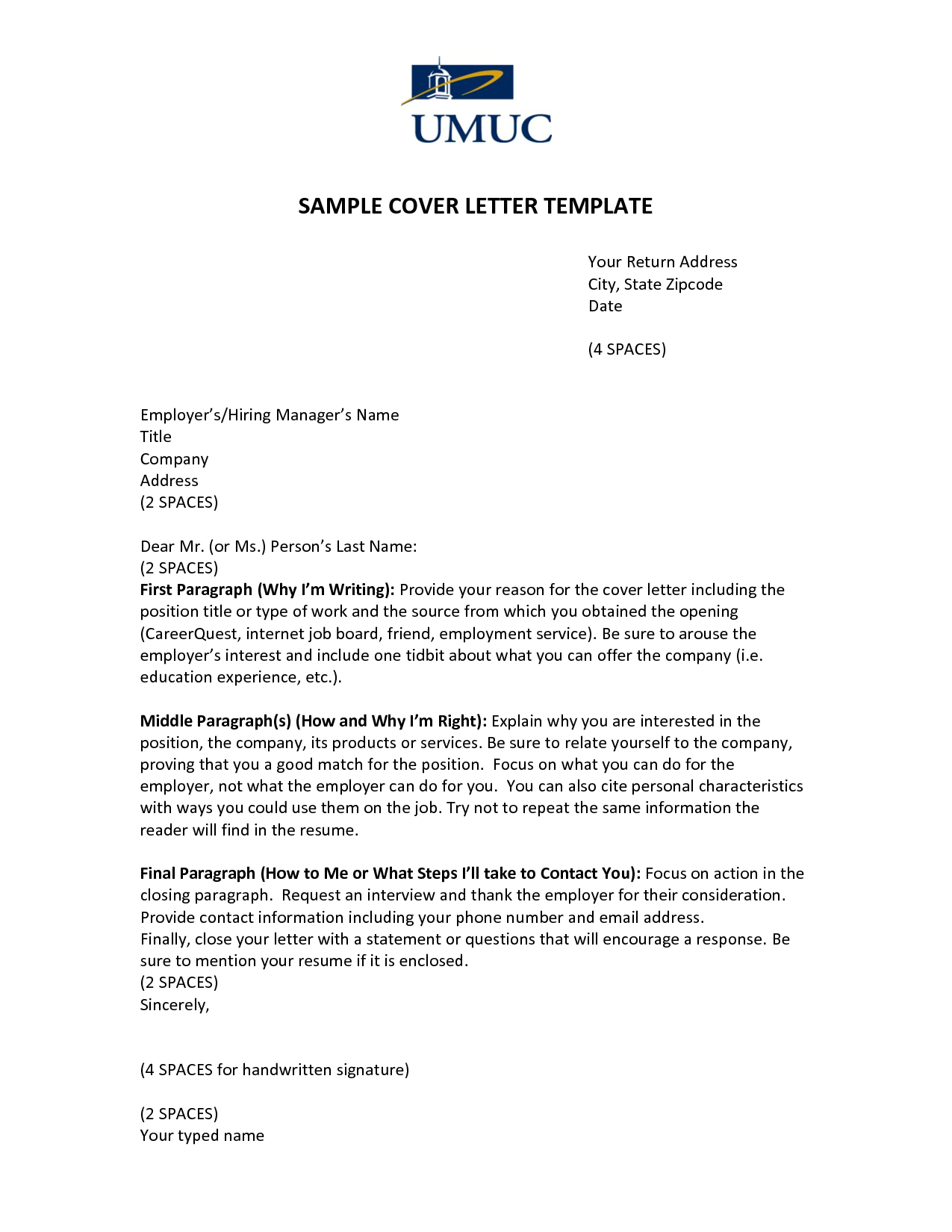 Sample Cover Letter Template Umucover Letter Template Application