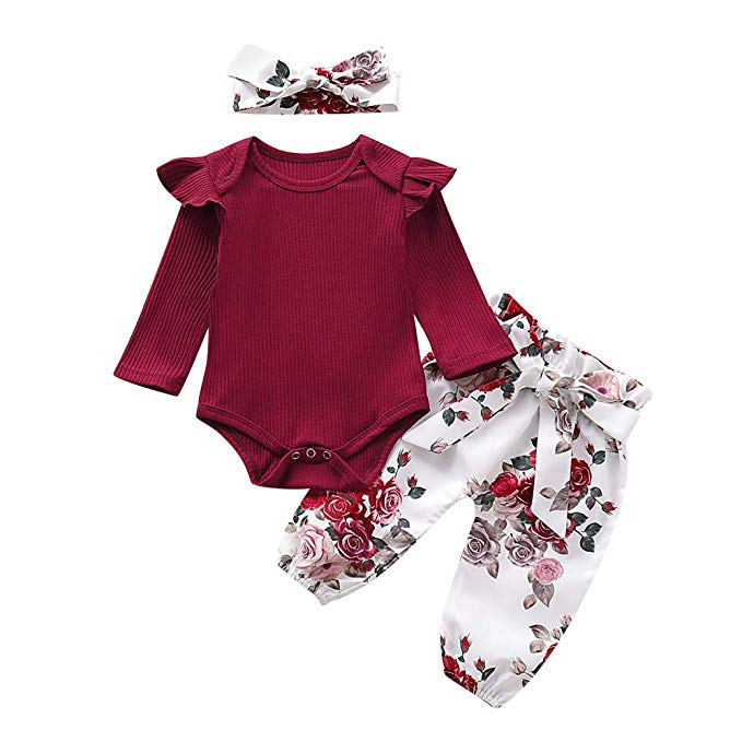 Newborn Baby Girl Infant Long Sleeve Autumn Clothes Romper Bodysuit Pants Outfit