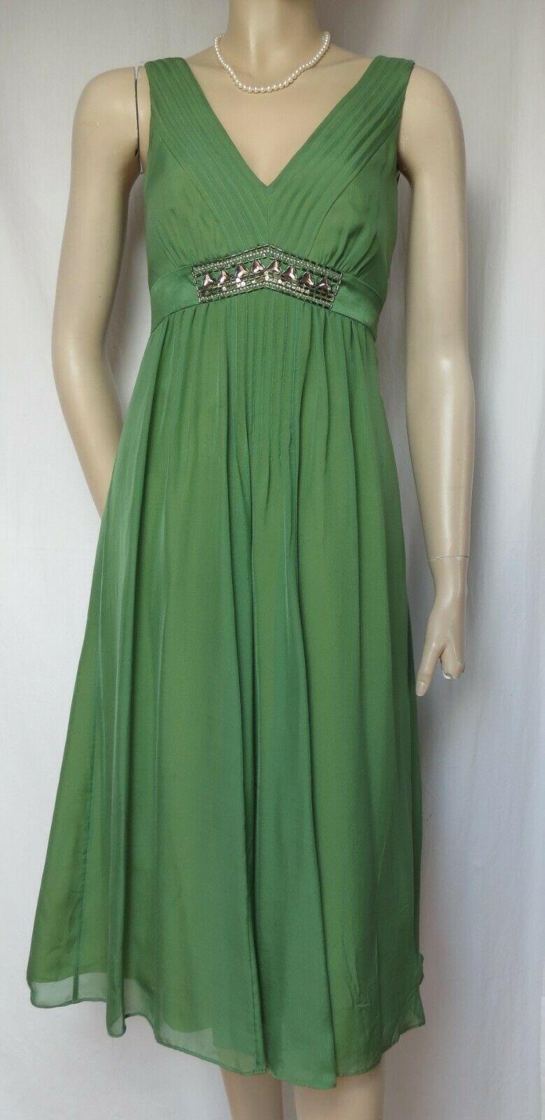 Seidenkleid 19 grün Hochzeit Seide Cocktailkleid Perlen Pailletten