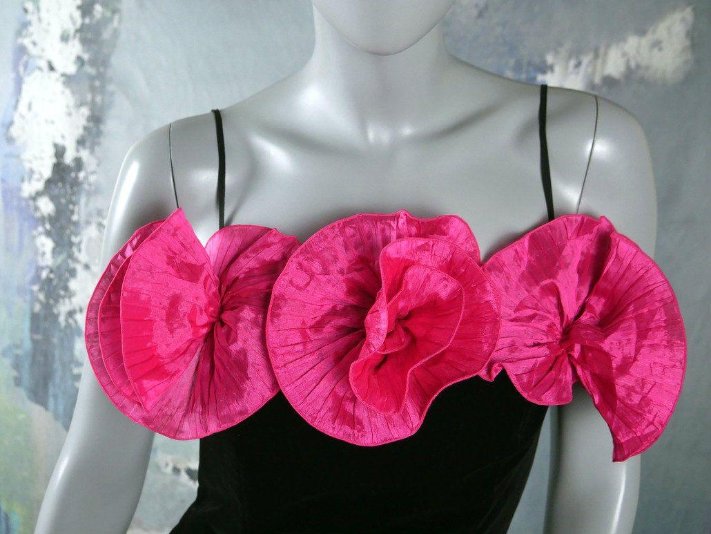 S prom dress cerise pink satin u black velvet sleeveless