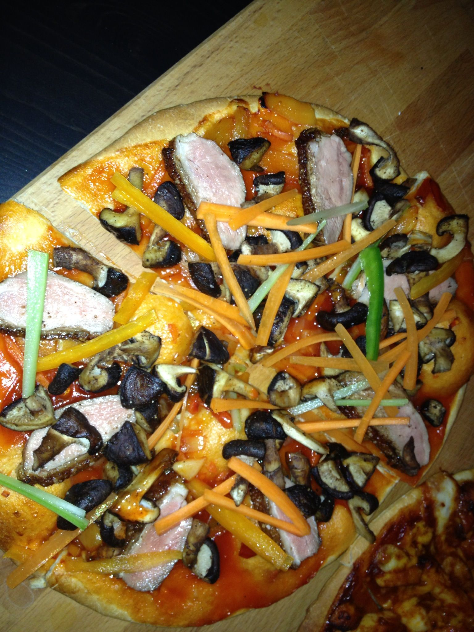 Experimental Pizza. Sweet/sour base with duck, roasted Shitaki mushrooms and fresh veg..