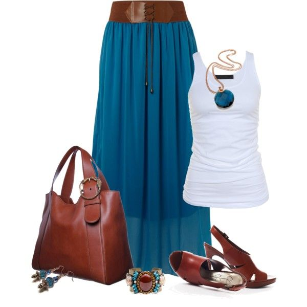 Maxi Skirt by johnna-cameron on Polyvore
