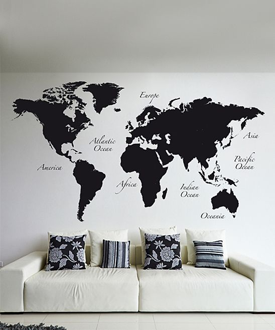 Turn your walls into a worldly display with this peel and stick look at this black world map wall decal set gumiabroncs Choice Image
