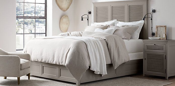 Rh S Shutter Bedroom Collection Distressed Grey