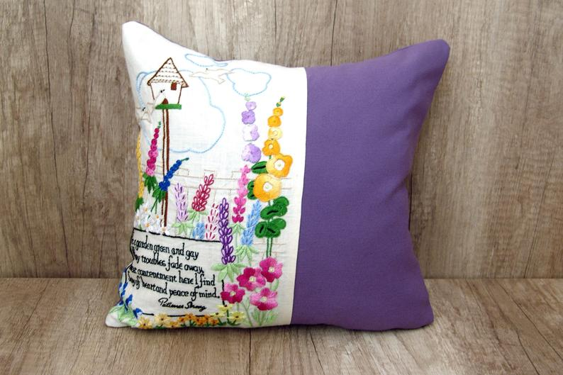 Floral embroidery garden hand embroidery PILLOW COVER, Violet needlework summer cushion case, Needlepoint throw pillowcase, Gardening gift