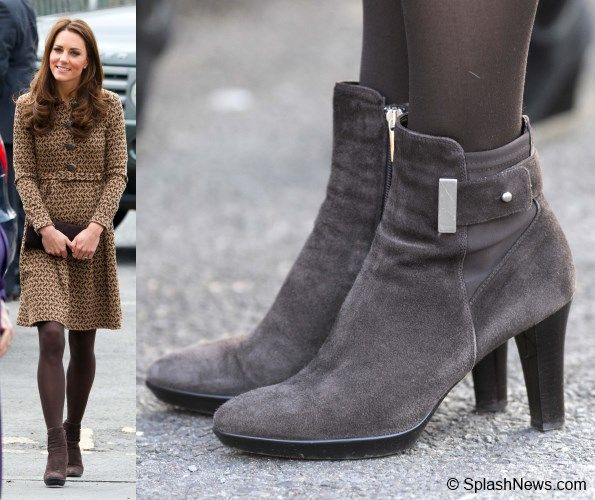 6563ded2305 Kate wearing her brown suede Aquatalia  Royal  Booties. The stylish boots  are described this way.  Silvertone hardware details the side of a  weatherproof ...