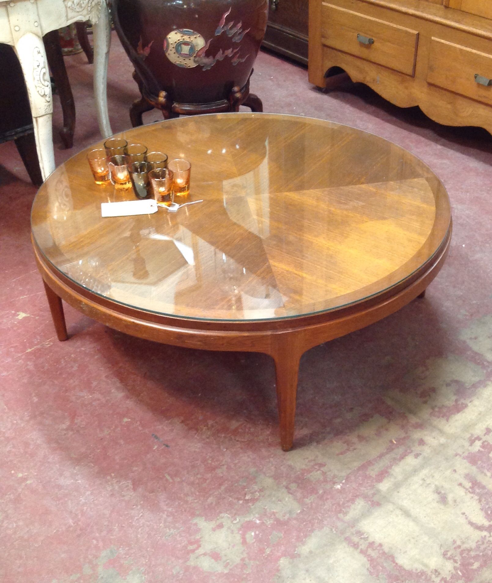 SOLD $295 Vintage mid century modern Lane round coffee table