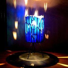 Bleu Opaque Poser Semi Sur Lampe À Verre Vitrail En Tiffany 54Rj3AL