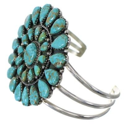 Turquoise And Genuine Sterling Silver Southwest Cuff Bracelet www.turquoisejewelry.com