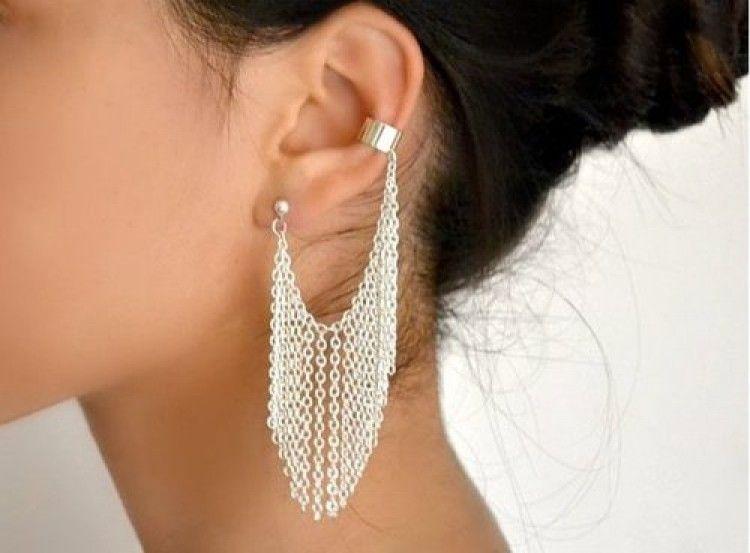 Few Ear Cuffs Fringe Chain Earrings