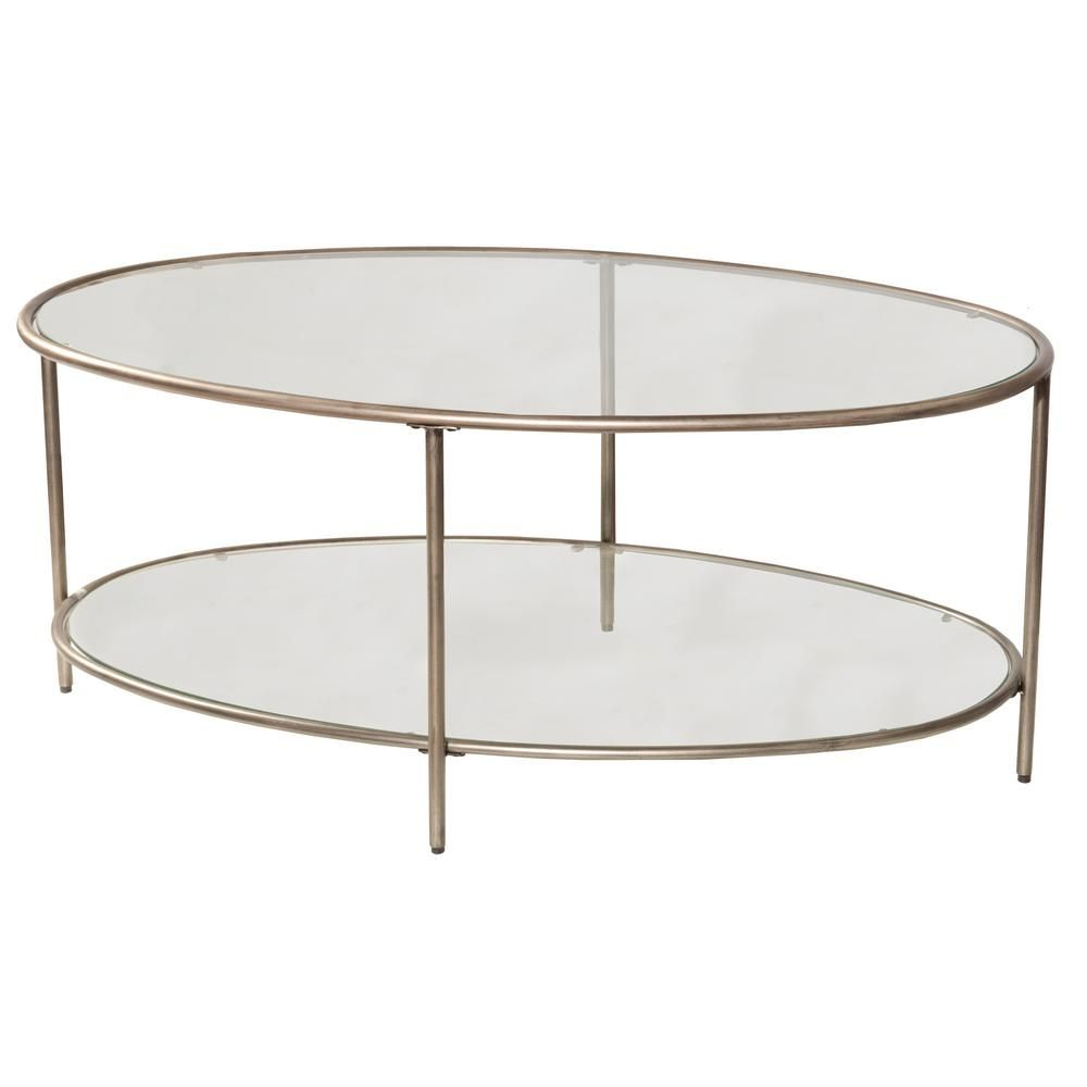 Hillsdale Furniture Corbin 48 In Silver Black Large Oval Glass Coffee Table With 2 Glass Shelves 4327 881 The Home Depot Oval Glass Coffee Table Metal Coffee Table Coffee Table [ 1000 x 1000 Pixel ]