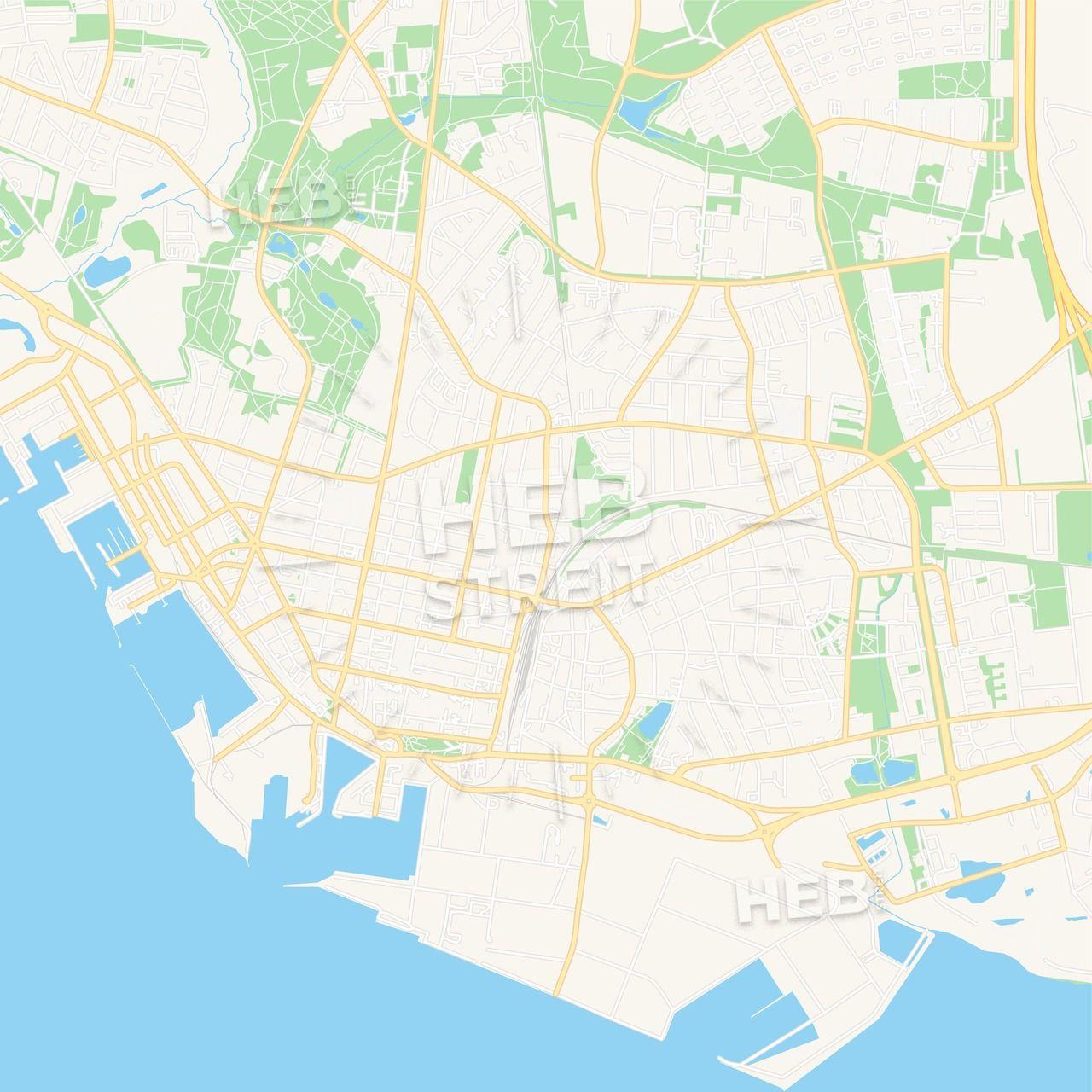 Esbjerg, Denmark Vector Map - Classic Colors   Maps Vector ...