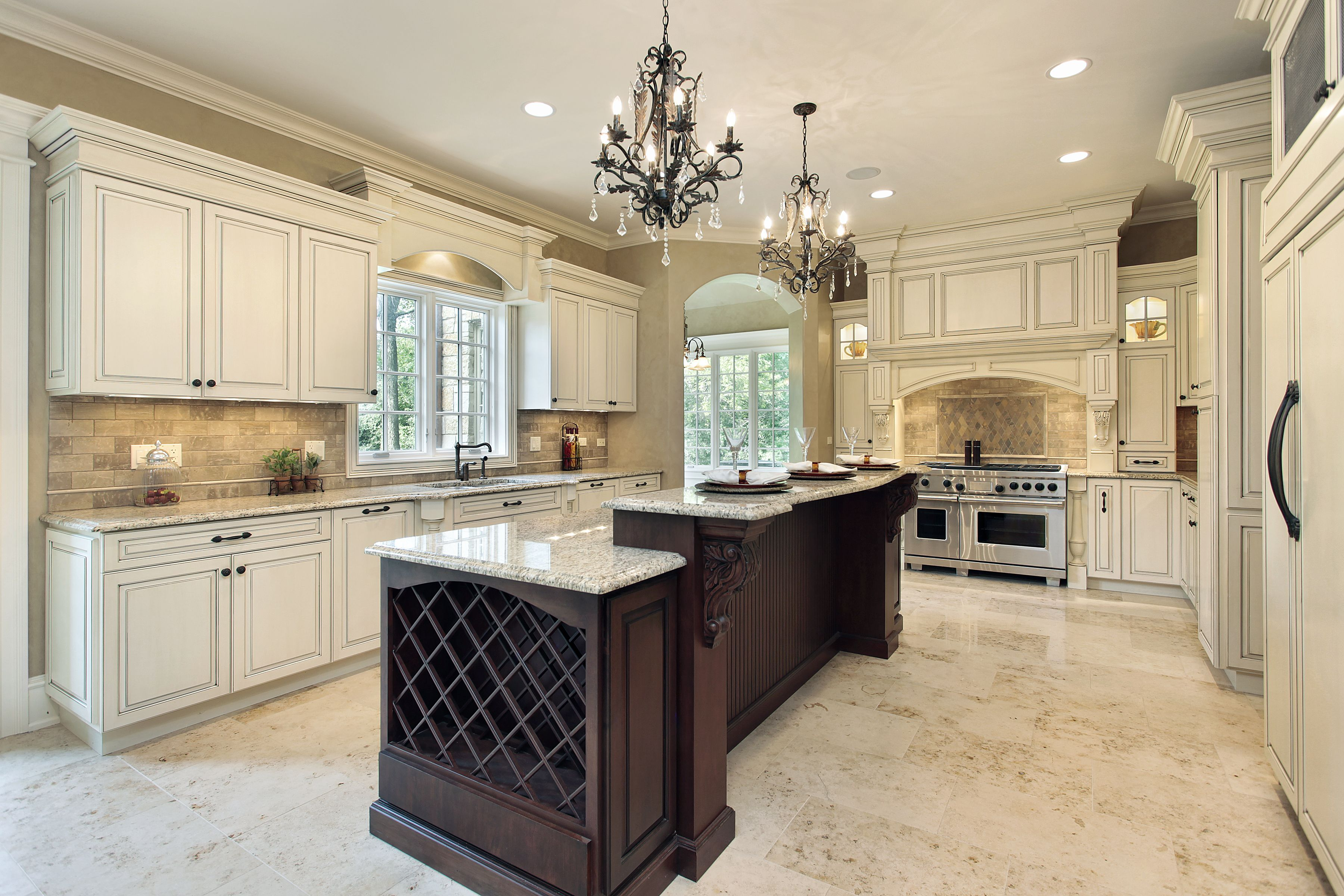 Elegant kitchen with white kitchen and espresso