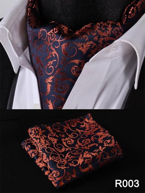 48310c19171a Floral Paisley Men Silk Cravat Ascot Tie Handkerchief Set #RF1 Party  Classic Pocket Square Wedding