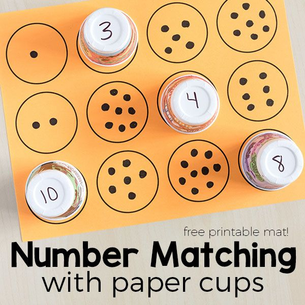 Counting And Number Matching With Paper Cups For The