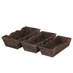 Set 3 drevených misek Shabby, hnedé