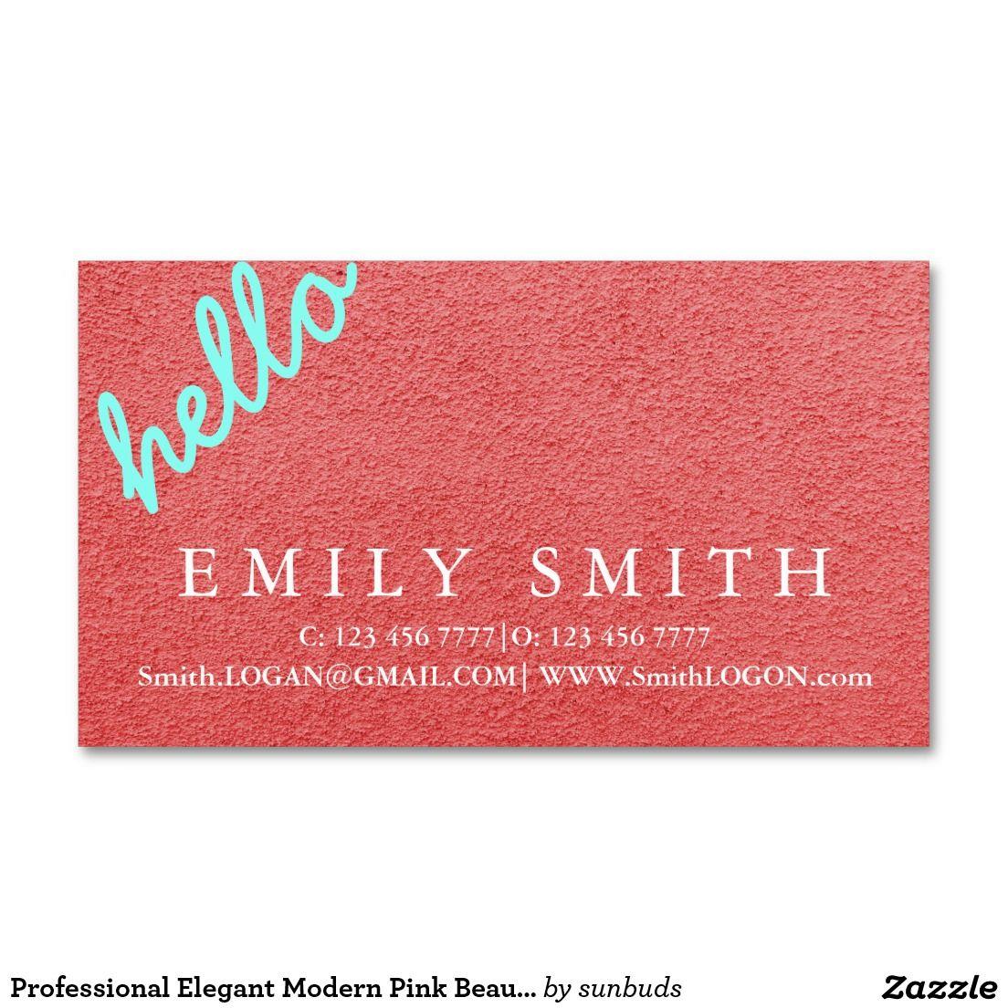 Professional Elegant Modern Pink Beautician Business Card