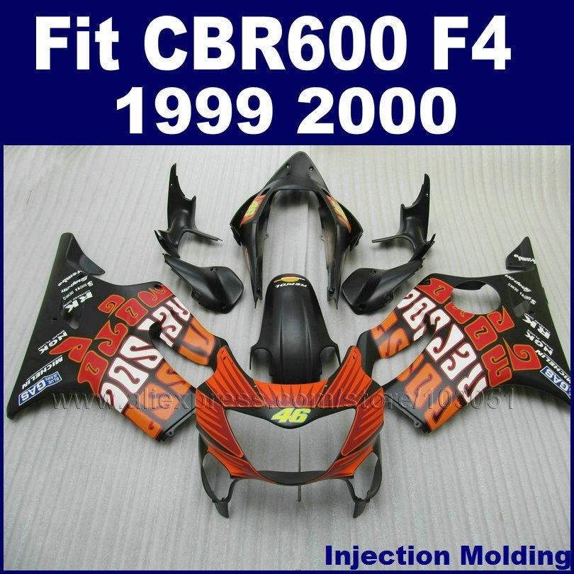 330.28$  Buy here - http://aixg5.worlditems.win/all/product.php?id=32280619291 - Custom ABS Injection fairing kits for HONDA flat black orange CBR600F4 1999 CBR600 F4 2000 CBR600F 99 00 fairngs bodyworks