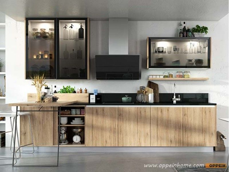 Wood Grain Melamine Standard Kitchen Cabinet Op17M02  Cool Cool Standard Kitchen Design Inspiration Design
